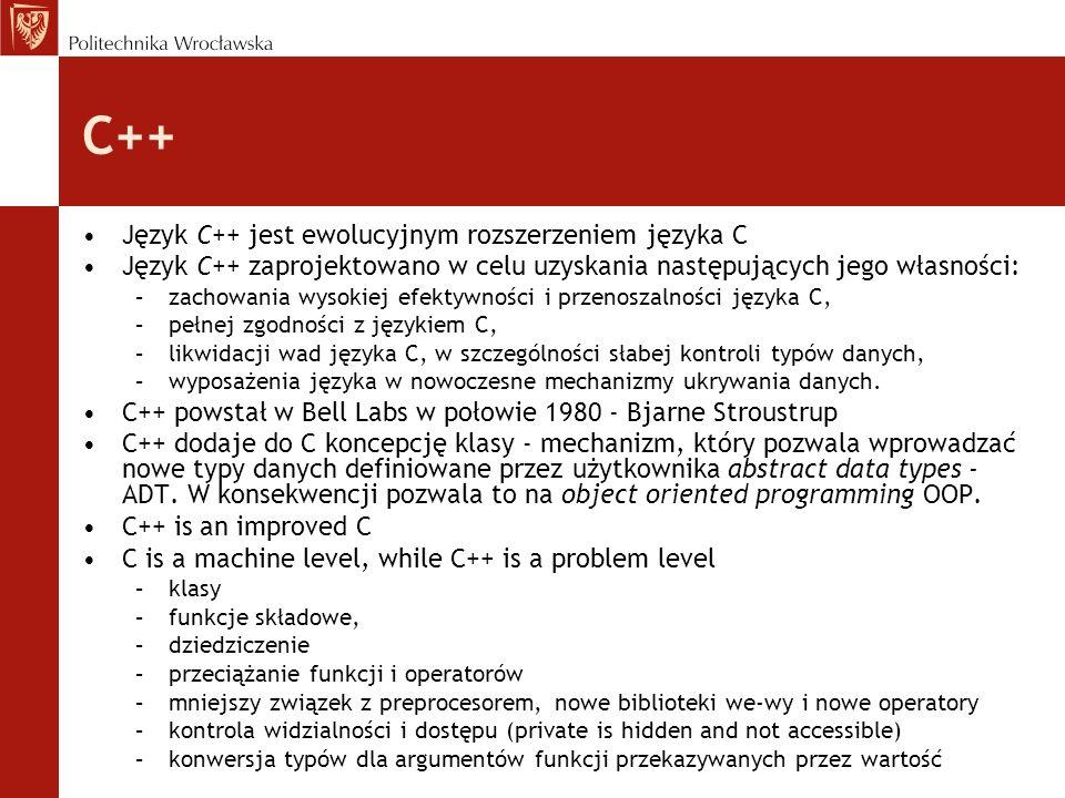 C++ Język C++ jest ewolucyjnym rozszerzeniem języka C Język C++ zaprojektowano w celu uzyskania następujących jego własności: –zachowania wysokiej efe