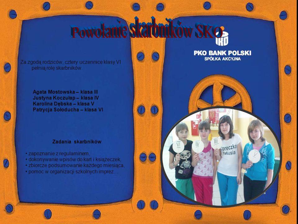 Za zgodą rodziców, cztery uczennice klasy VI pełnią rolę skarbników.