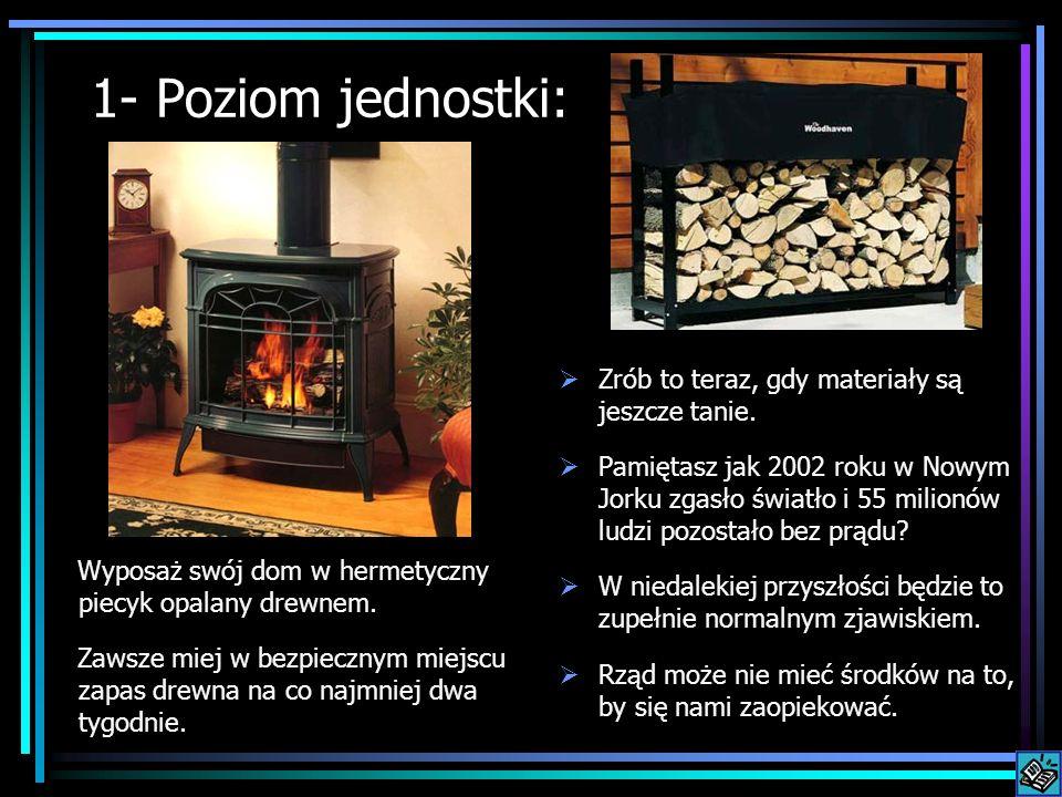 1- Poziom jednostki: Wyposaż swój dom w hermetyczny piecyk opalany drewnem. Zawsze miej w bezpiecznym miejscu zapas drewna na co najmniej dwa tygodnie