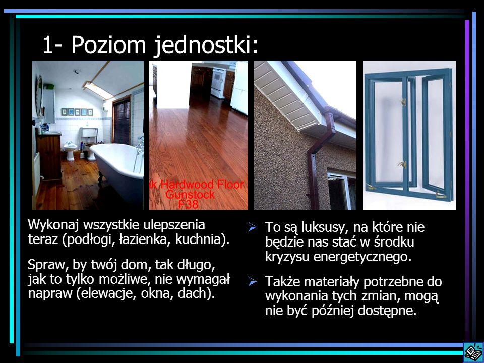 1- Poziom jednostki: Wykonaj wszystkie ulepszenia teraz (podłogi, łazienka, kuchnia). Spraw, by twój dom, tak długo, jak to tylko możliwe, nie wymagał