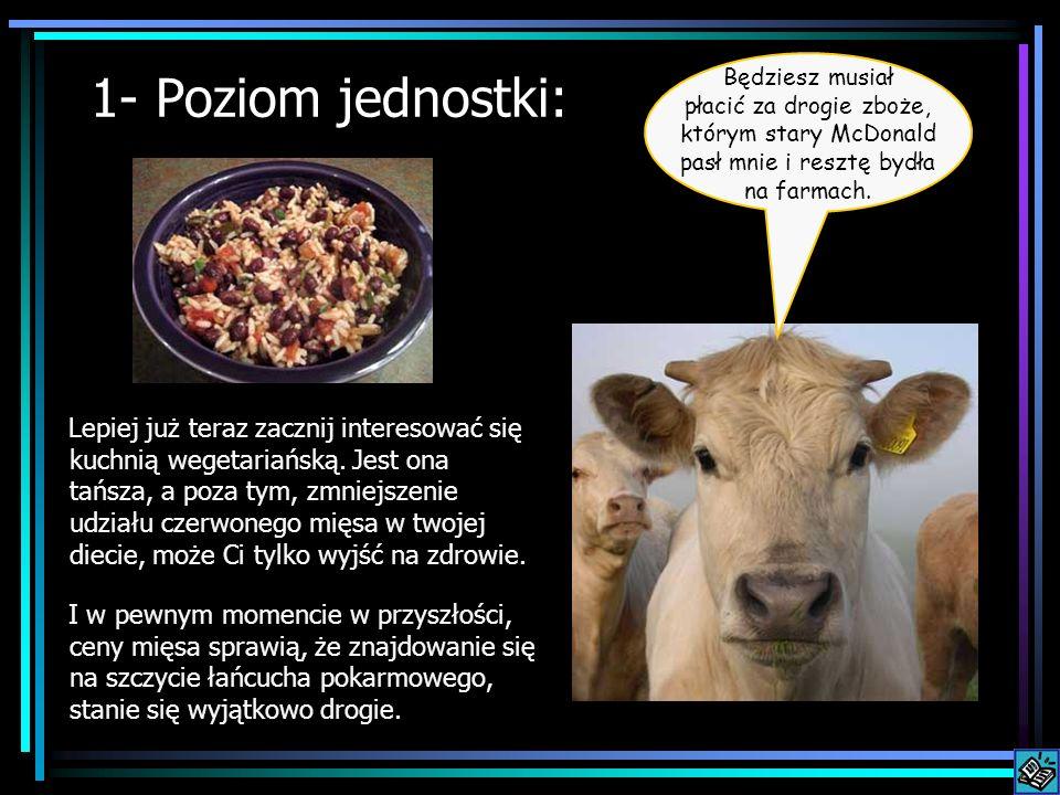 1- Poziom jednostki: Lepiej już teraz zacznij interesować się kuchnią wegetariańską. Jest ona tańsza, a poza tym, zmniejszenie udziału czerwonego mięs