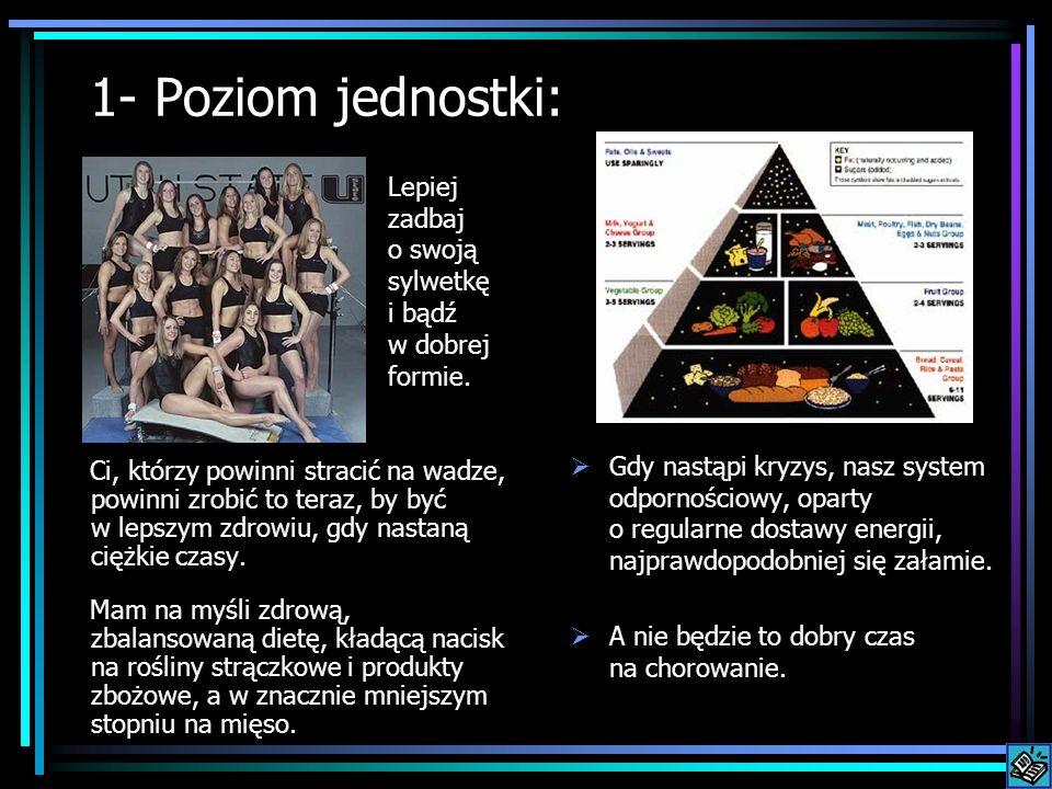 1- Poziom jednostki: Ci, którzy powinni stracić na wadze, powinni zrobić to teraz, by być w lepszym zdrowiu, gdy nastaną ciężkie czasy. Mam na myśli z