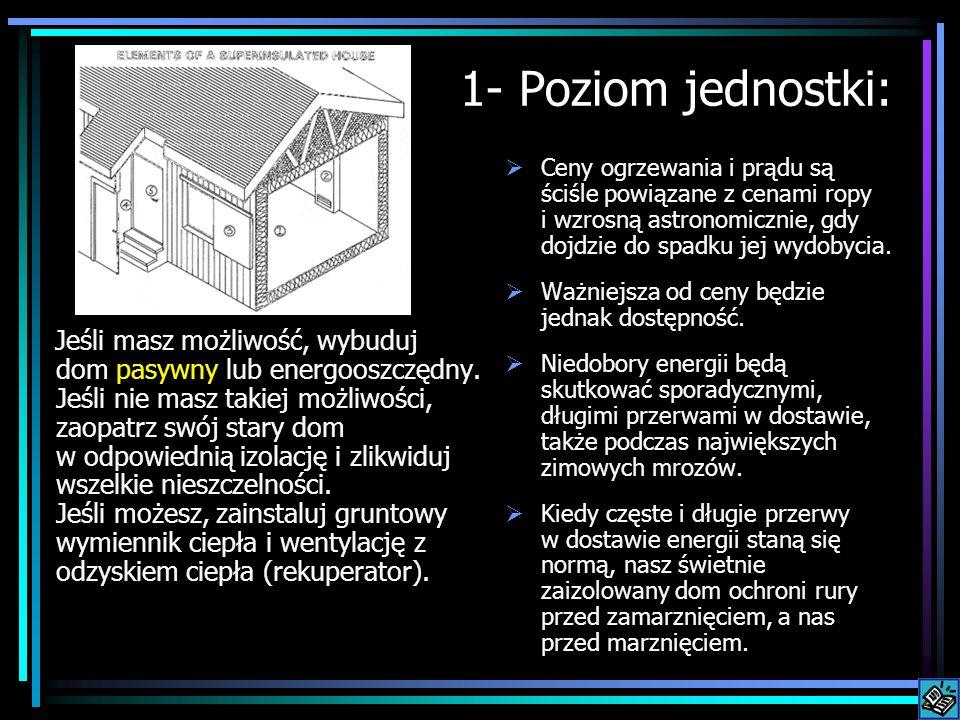 1- Poziom jednostki: Jeśli masz możliwość, wybuduj dom pasywny lub energooszczędny. Jeśli nie masz takiej możliwości, zaopatrz swój stary dom w odpowi
