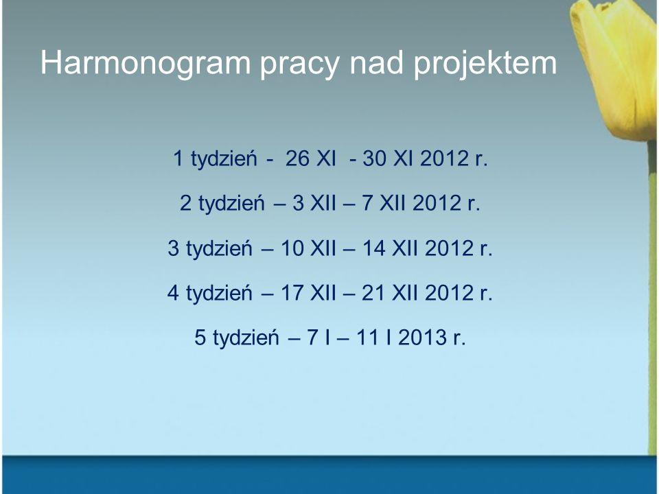 Harmonogram pracy nad projektem 1 tydzień - 26 XI - 30 XI 2012 r. 2 tydzień – 3 XII – 7 XII 2012 r. 3 tydzień – 10 XII – 14 XII 2012 r. 4 tydzień – 17