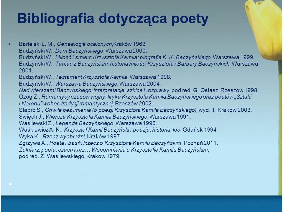 Bibliografia dotycząca poety Bartelski L. M., Genealogia ocalonych,Kraków 1963. Budzyński W., Dom Baczyńskiego, Warszawa 2000. Budzyński W., Miłość i