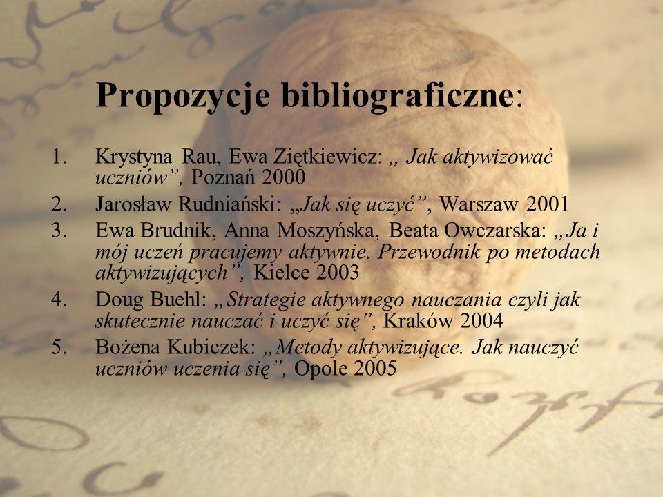 Propozycje bibliograficzne: 1.Krystyna Rau, Ewa Ziętkiewicz: Jak aktywizować uczniów, Poznań 2000 2.Jarosław Rudniański: Jak się uczyć, Warszaw 2001 3