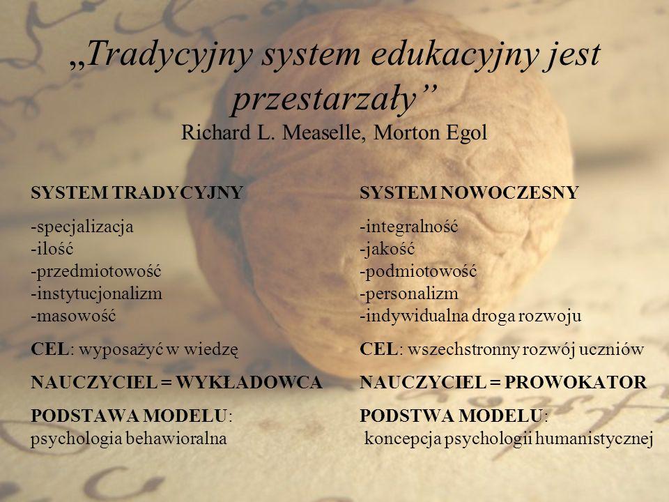 Tradycyjny system edukacyjny jest przestarzały Richard L. Measelle, Morton Egol SYSTEM TRADYCYJNY -specjalizacja -ilość -przedmiotowość -instytucjonal