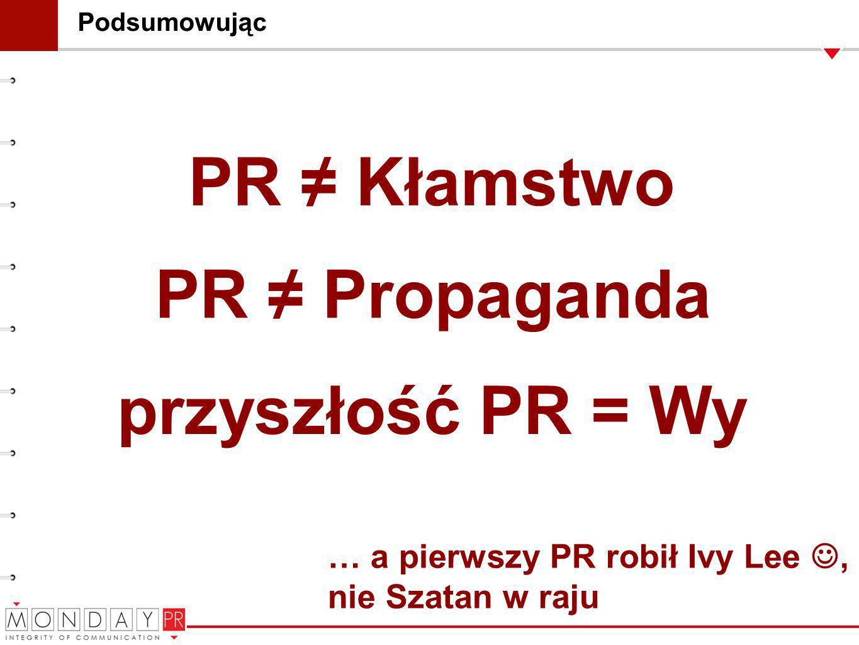 Podsumowując PR Propaganda PR Kłamstwo … a pierwszy PR robił Ivy Lee, nie Szatan w raju przyszłość PR = Wy