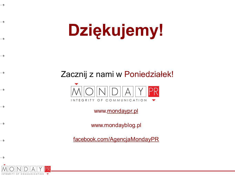 Zacznij z nami w Poniedziałek! www.mondaypr.pl www.mondayblog.pl facebook.com/AgencjaMondayPR Dziękujemy!