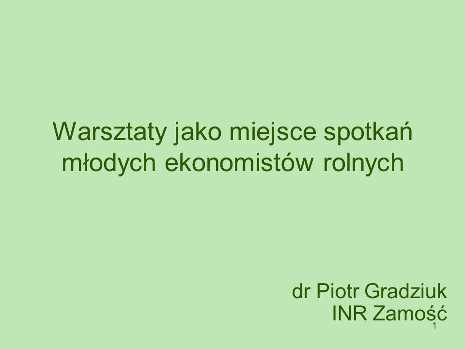 1 Warsztaty jako miejsce spotkań młodych ekonomistów rolnych dr Piotr Gradziuk INR Zamość