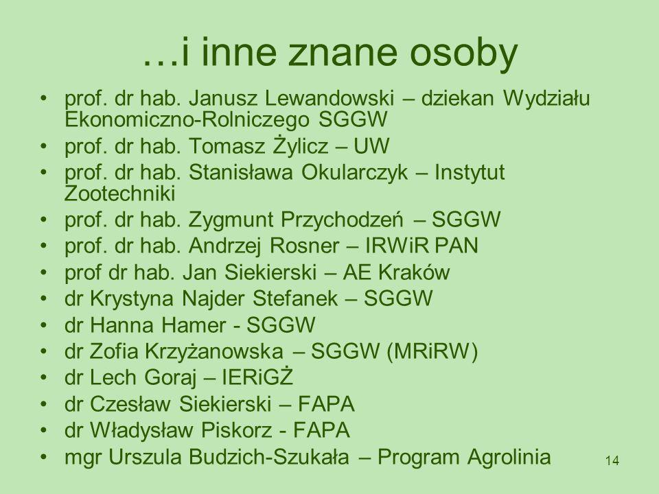 14 …i inne znane osoby prof. dr hab. Janusz Lewandowski – dziekan Wydziału Ekonomiczno-Rolniczego SGGW prof. dr hab. Tomasz Żylicz – UW prof. dr hab.