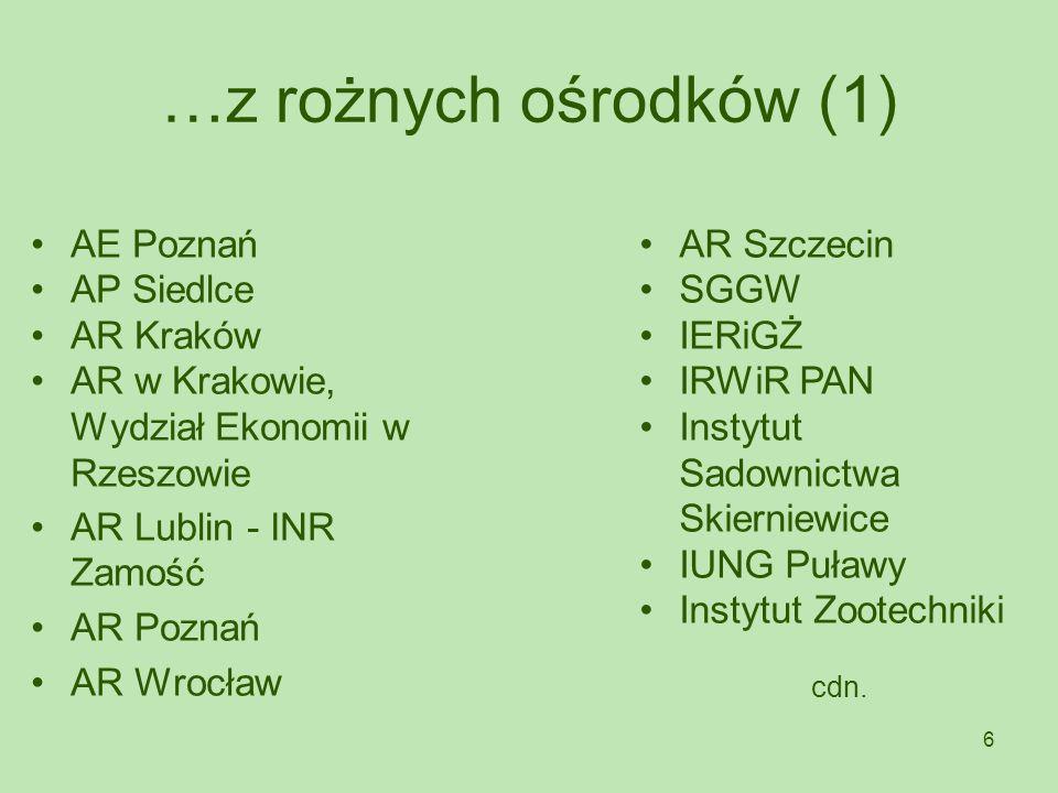 6 …z rożnych ośrodków (1) AE Poznań AP Siedlce AR Kraków AR w Krakowie, Wydział Ekonomii w Rzeszowie AR Lublin - INR Zamość AR Poznań AR Wrocław AR Sz