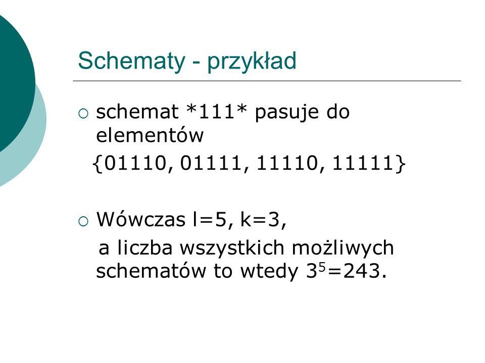 Schematy - przykład schemat *111* pasuje do elementów {01110, 01111, 11110, 11111} Wówczas l=5, k=3, a liczba wszystkich możliwych schematów to wtedy