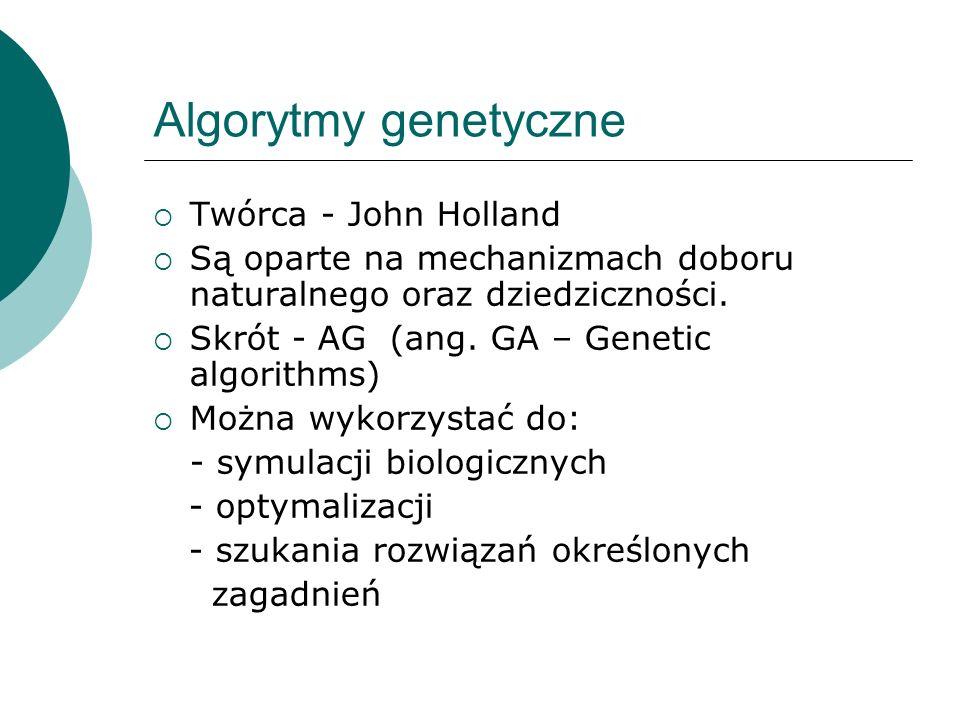 Algorytmy genetyczne Twórca - John Holland Są oparte na mechanizmach doboru naturalnego oraz dziedziczności. Skrót - AG (ang. GA – Genetic algorithms)