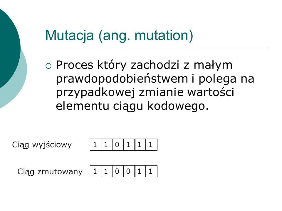 Mutacja (ang. mutation) Proces który zachodzi z małym prawdopodobieństwem i polega na przypadkowej zmianie wartości elementu ciągu kodowego. 110111 Ci