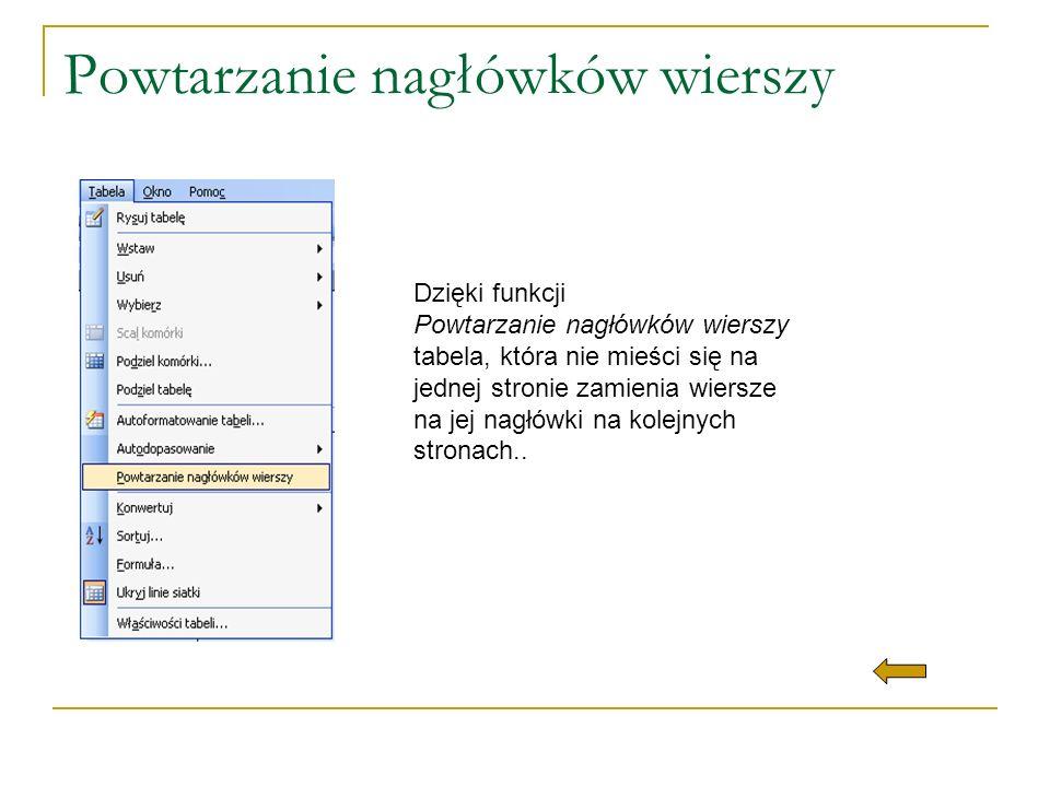 Powtarzanie nagłówków wierszy Dzięki funkcji Powtarzanie nagłówków wierszy tabela, która nie mieści się na jednej stronie zamienia wiersze na jej nagł