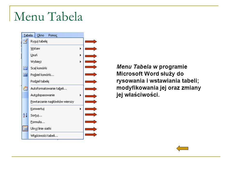 Menu Tabela Menu Tabela w programie Microsoft Word służy do rysowania i wstawiania tabeli; modyfikowania jej oraz zmiany jej właściwości.