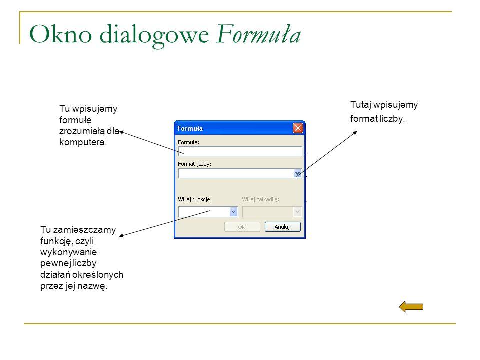 Okno dialogowe Formuła Tu wpisujemy formułę zrozumiałą dla komputera. Tutaj wpisujemy format liczby. Tu zamieszczamy funkcję, czyli wykonywanie pewnej