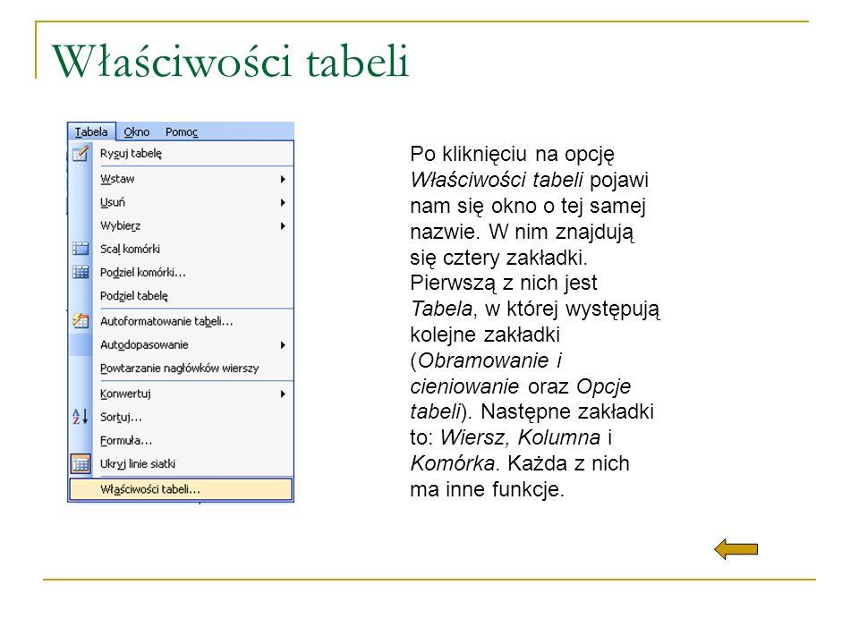 Właściwości tabeli Po kliknięciu na opcję Właściwości tabeli pojawi nam się okno o tej samej nazwie. W nim znajdują się cztery zakładki. Pierwszą z ni