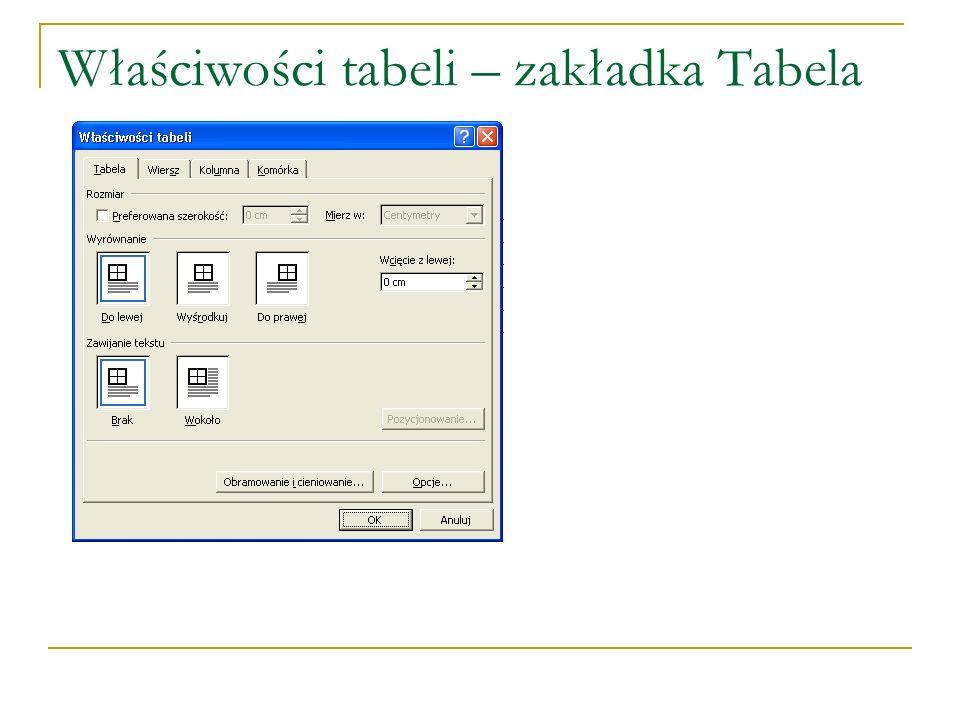 Właściwości tabeli – zakładka Tabela