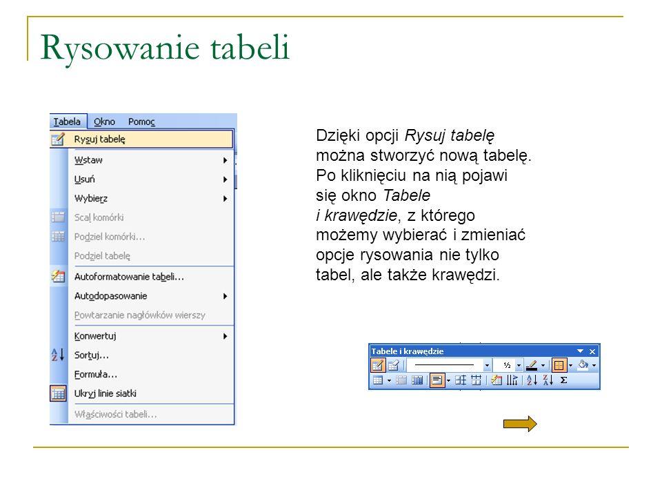 Rysowanie tabeli Dzięki opcji Rysuj tabelę można stworzyć nową tabelę. Po kliknięciu na nią pojawi się okno Tabele i krawędzie, z którego możemy wybie