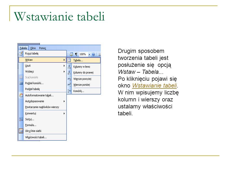 Wstawianie tabeli Drugim sposobem tworzenia tabeli jest posłużenie się opcją Wstaw – Tabela... Po kliknięciu pojawi się okno Wstawianie tabeli. W nim