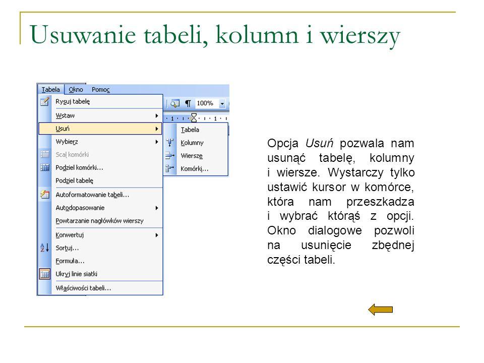 Usuwanie tabeli, kolumn i wierszy Opcja Usuń pozwala nam usunąć tabelę, kolumny i wiersze. Wystarczy tylko ustawić kursor w komórce, która nam przeszk