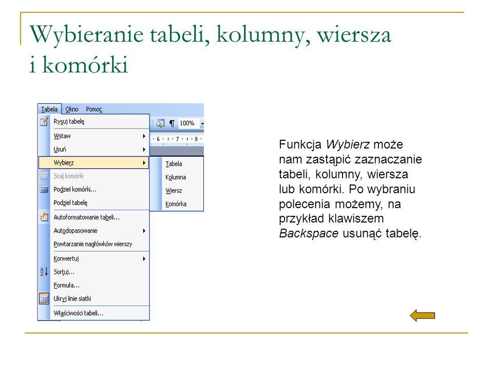 Wybieranie tabeli, kolumny, wiersza i komórki Funkcja Wybierz może nam zastąpić zaznaczanie tabeli, kolumny, wiersza lub komórki. Po wybraniu poleceni