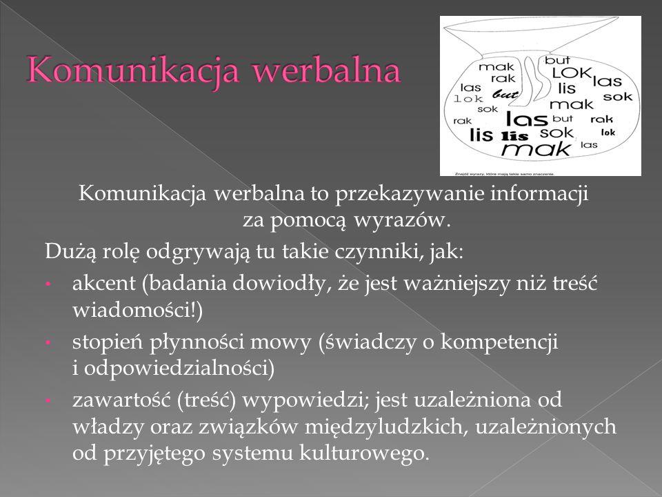 Komunikacja werbalna to przekazywanie informacji za pomocą wyrazów. Dużą rolę odgrywają tu takie czynniki, jak: akcent (badania dowiodły, że jest ważn