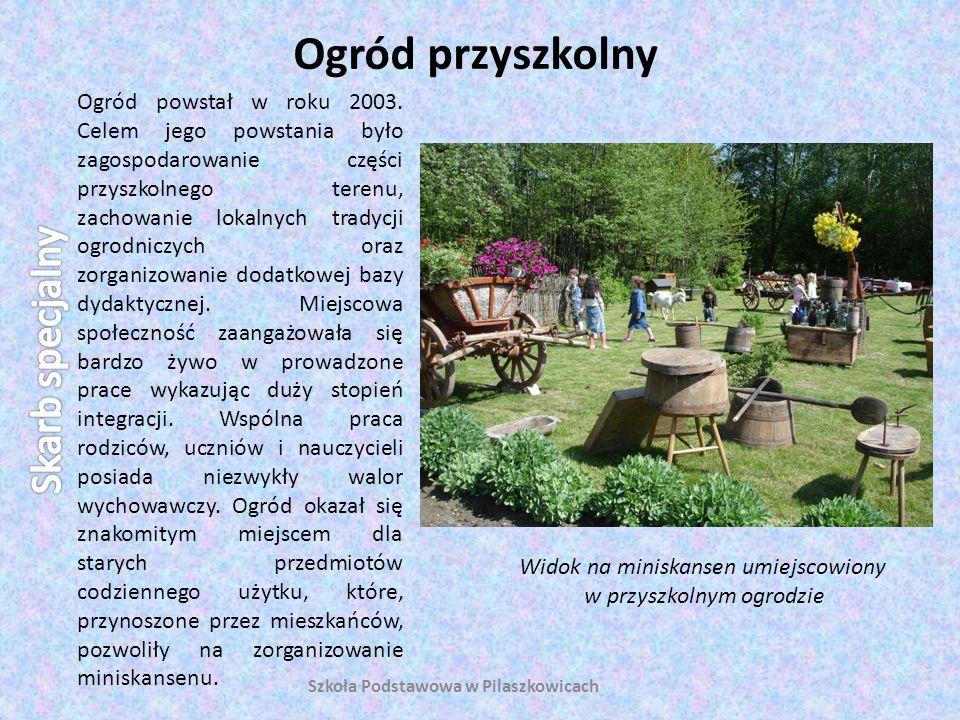 Ogród przyszkolny Szkoła Podstawowa w Pilaszkowicach Ogród powstał w roku 2003. Celem jego powstania było zagospodarowanie części przyszkolnego terenu
