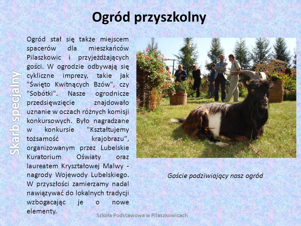 Ogród przyszkolny Szkoła Podstawowa w Pilaszkowicach Ogród stał się także miejscem spacerów dla mieszkańców Pilaszkowic i przyjeżdżających gości. W og