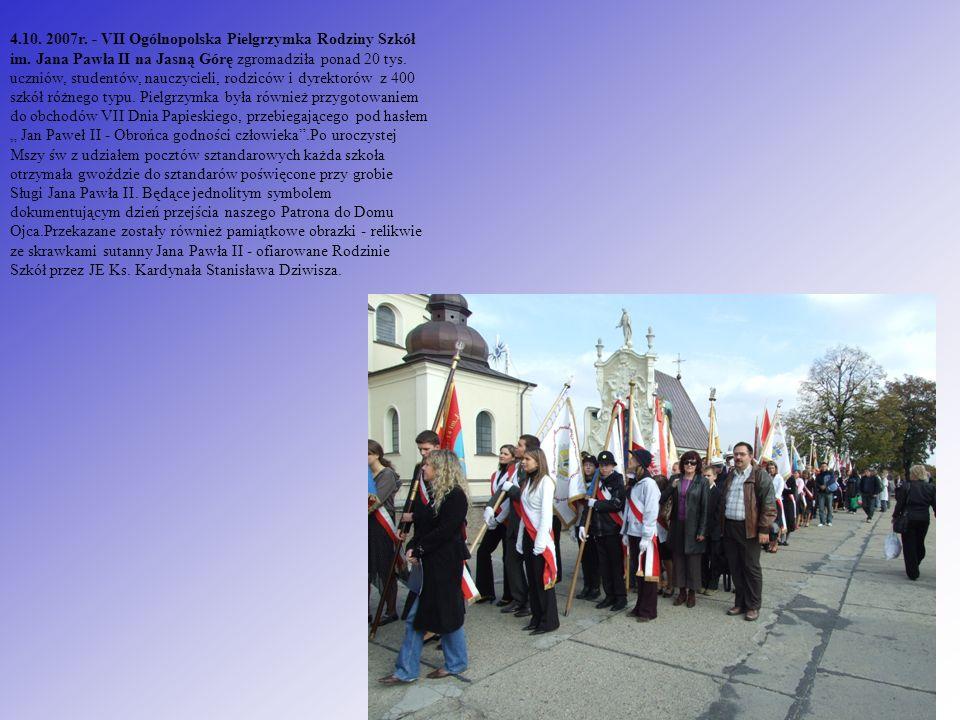 4.10. 2007r. - VII Ogólnopolska Pielgrzymka Rodziny Szkół im. Jana Pawła II na Jasną Górę zgromadziła ponad 20 tys. uczniów, studentów, nauczycieli, r