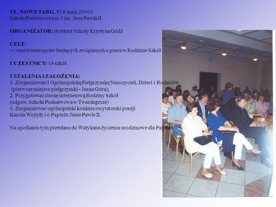 VI, NOWY TARG, 5 i 6 maja 2000 r. Szkoła Podstawowa nr 3 im. Jana Pawła II ORGANIZATOR: dyrektor Szkoły Krystyna Gódź CELE: omówienie spraw bieżących