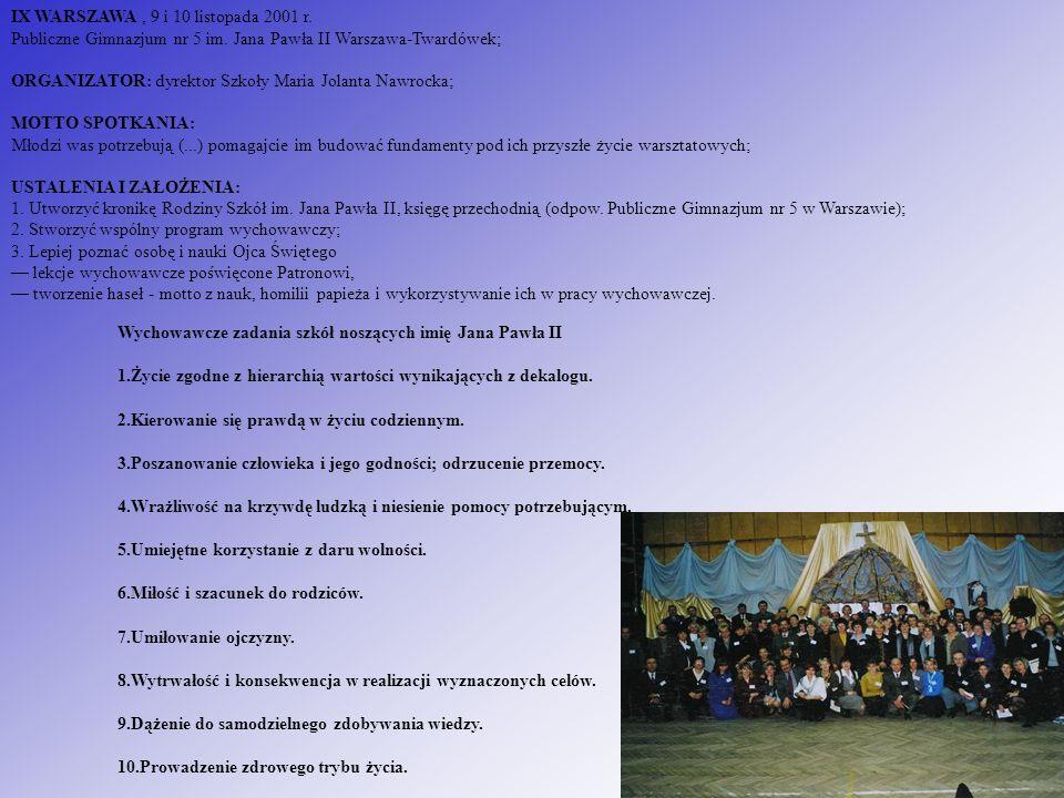 IX WARSZAWA, 9 i 10 listopada 2001 r. Publiczne Gimnazjum nr 5 im. Jana Pawła II Warszawa-Twardówek; ORGANIZATOR: dyrektor Szkoły Maria Jolanta Nawroc