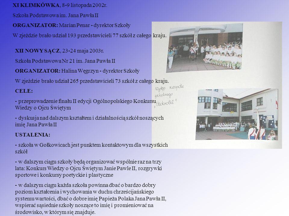XI KLIMKÓWKA, 8-9 listopada 2002r. Szkoła Podstawowa im. Jana Pawła II ORGANIZATOR: Marian Penar - dyrektor Szkoły W zjeździe brało udział 193 przedst