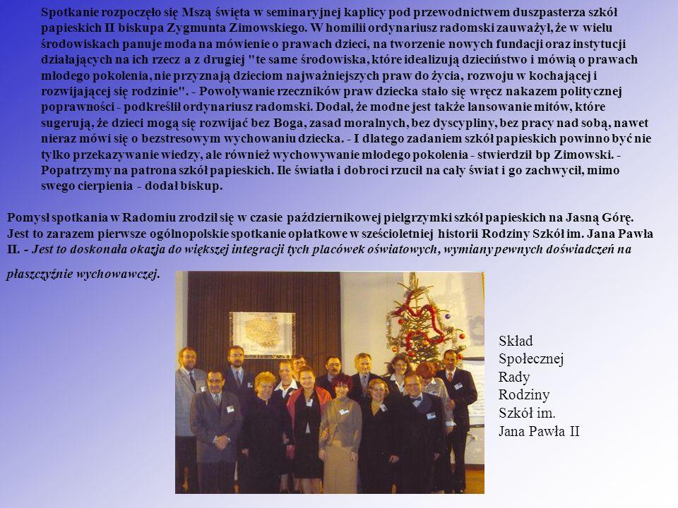 Spotkanie rozpoczęło się Mszą święta w seminaryjnej kaplicy pod przewodnictwem duszpasterza szkół papieskich II biskupa Zygmunta Zimowskiego. W homili