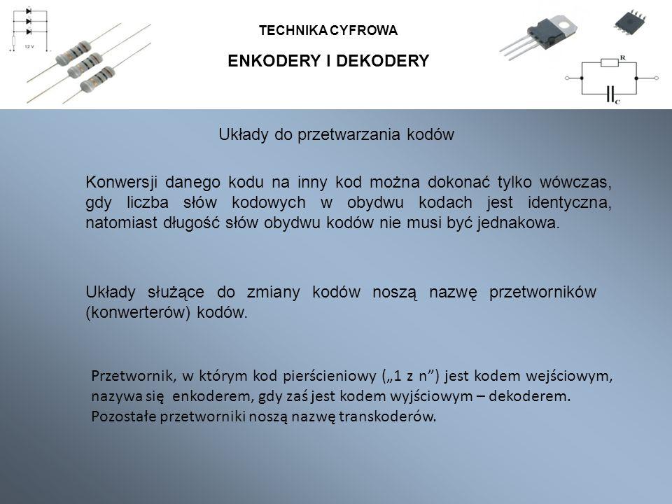 TECHNIKA CYFROWA Układy do przetwarzania kodów Układy służące do zmiany kodów noszą nazwę przetworników (konwerterów) kodów.