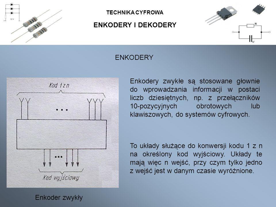 ENKODERY I DEKODERY TECHNIKA CYFROWA Enkodery zwykłe są stosowane głownie do wprowadzania informacji w postaci liczb dziesiętnych, np. z przełączników