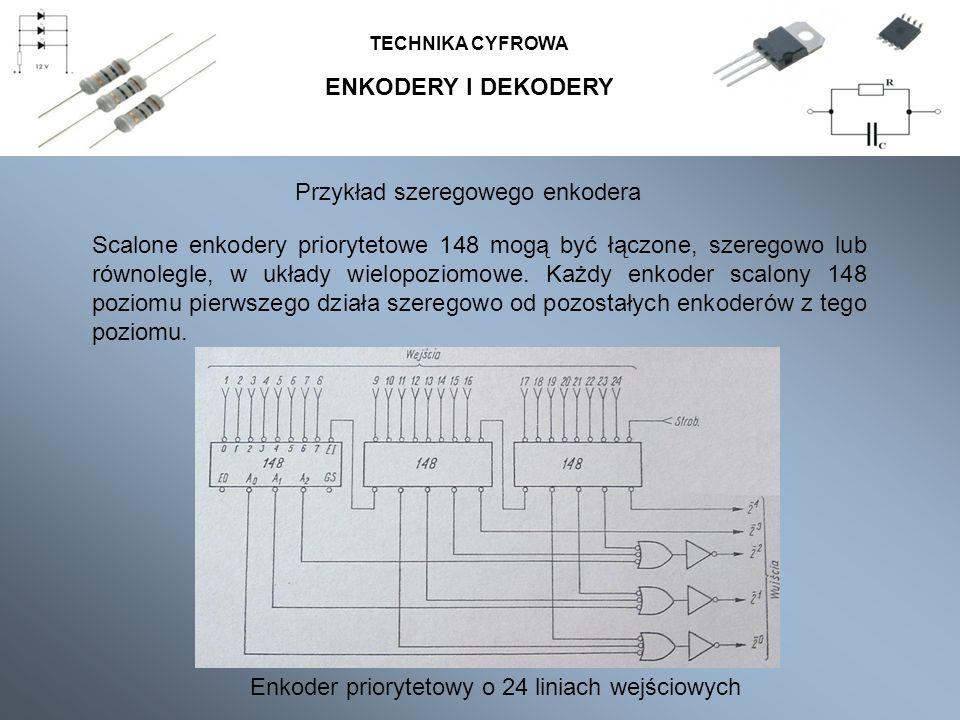 ENKODERY I DEKODERY TECHNIKA CYFROWA Przykład szeregowego enkodera Scalone enkodery priorytetowe 148 mogą być łączone, szeregowo lub równolegle, w ukł