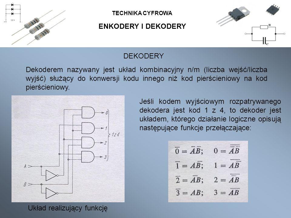 ENKODERY I DEKODERY TECHNIKA CYFROWA DEKODERY Dekoderem nazywany jest układ kombinacyjny n/m (liczba wejść/liczba wyjść) służący do konwersji kodu innego niż kod pierścieniowy na kod pierścieniowy.
