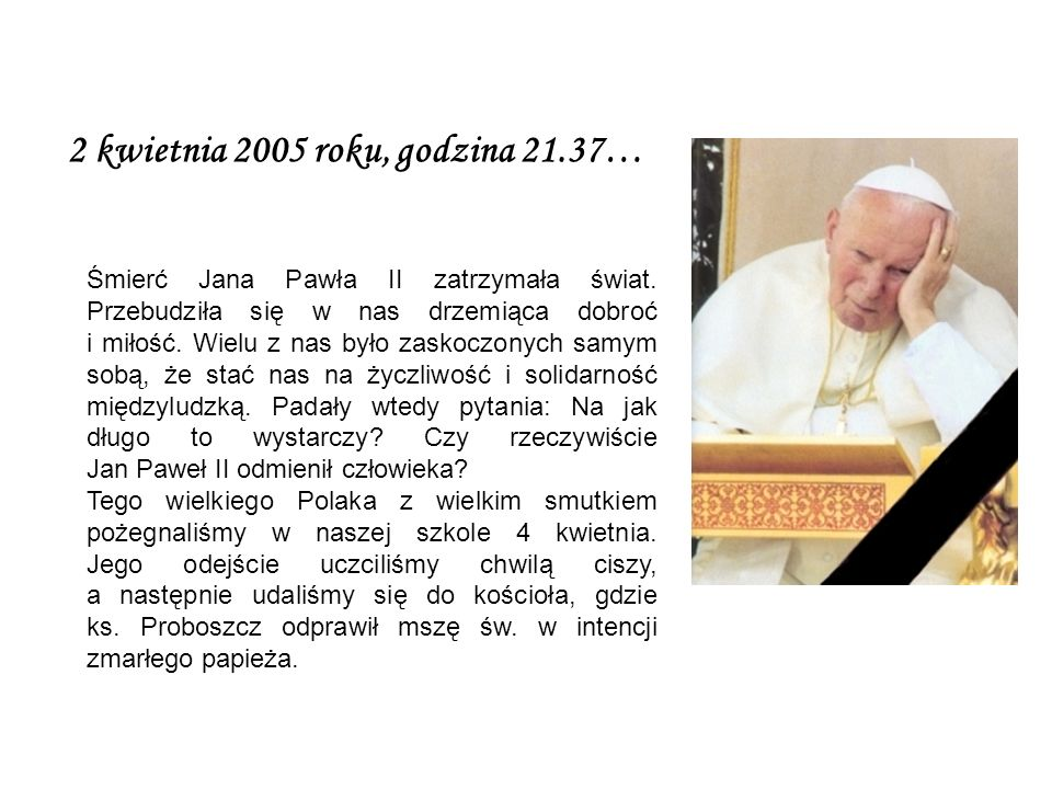 2 kwietnia 2005 roku, godzina 21.37… Śmierć Jana Pawła II zatrzymała świat.