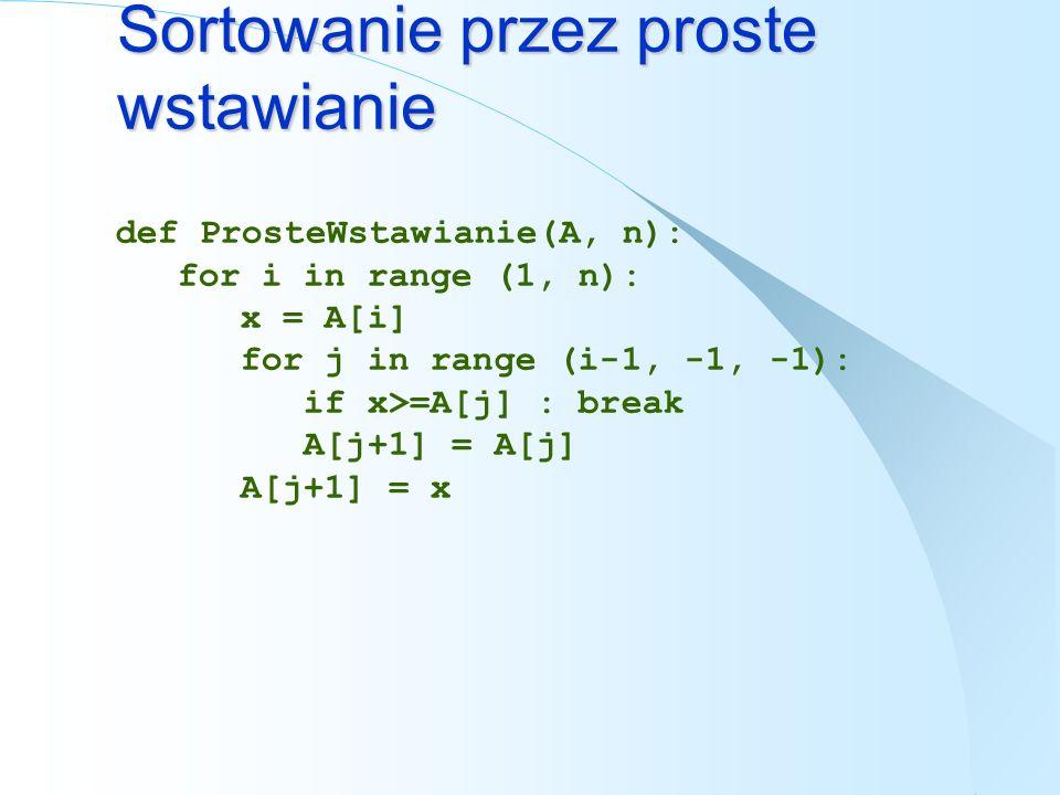 Sortowanie przez proste wstawianie def ProsteWstawianie(A, n): for i in range (1, n): x = A[i] for j in range (i-1, -1, -1): if x>=A[j] : break A[j+1]