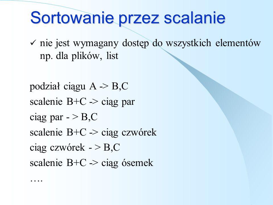 Sortowanie przez scalanie nie jest wymagany dostęp do wszystkich elementów np. dla plików, list podział ciągu A -> B,C scalenie B+C -> ciąg par ciąg p