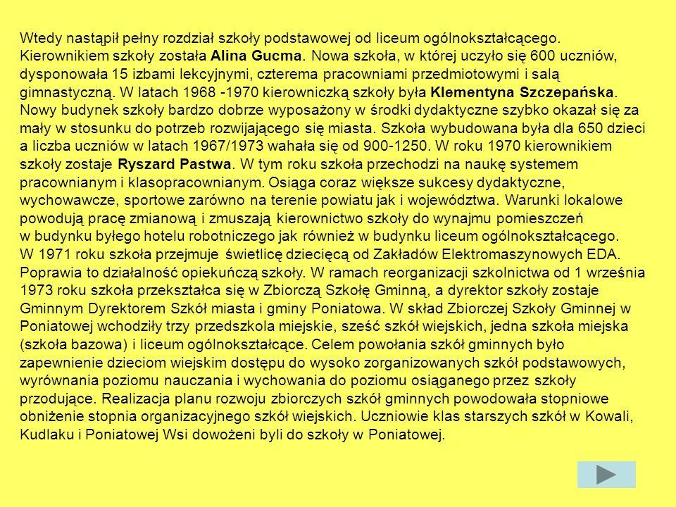 3.W którym roku została oddana do użytku Szkoła Podstawowa.