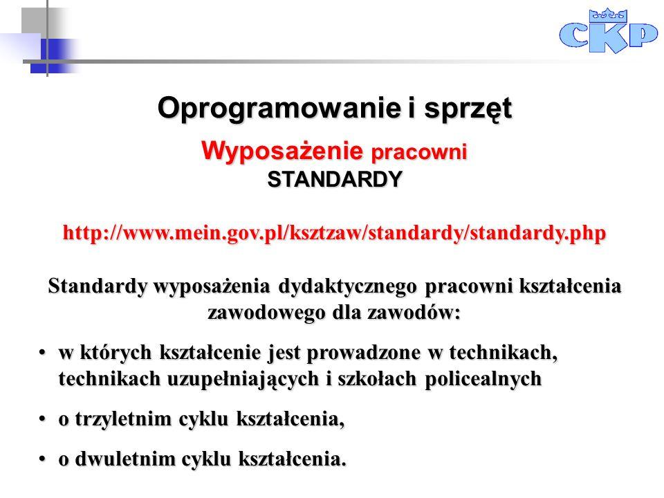 Oprogramowanie i sprzęt Wyposażenie pracowni STANDARDYhttp://www.mein.gov.pl/ksztzaw/standardy/standardy.php Standardy wyposażenia dydaktycznego praco