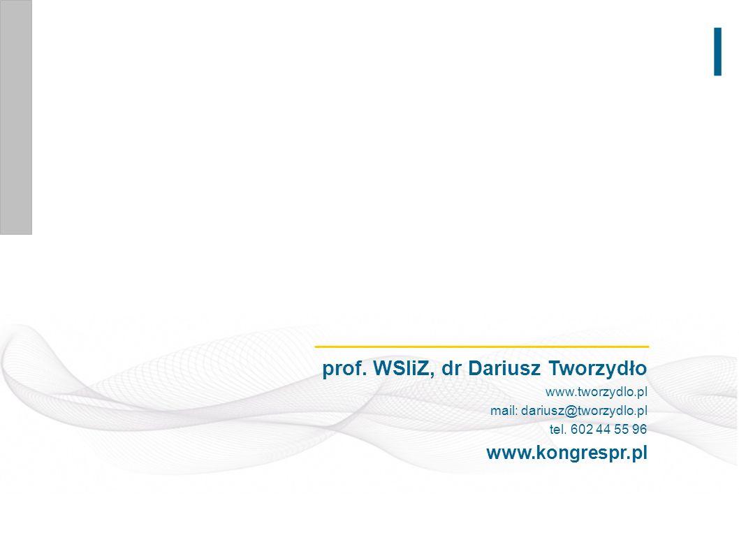 prof. WSIiZ, dr Dariusz Tworzydło www.tworzydlo.pl mail: dariusz@tworzydlo.pl tel. 602 44 55 96 www.kongrespr.pl