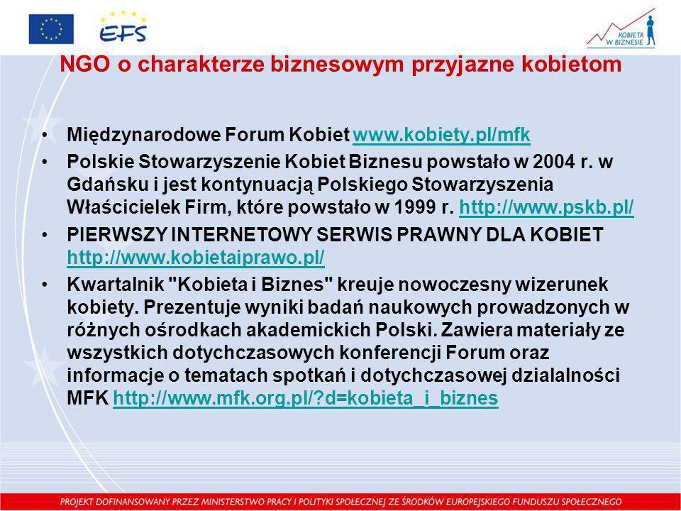 NGO o charakterze biznesowym przyjazne kobietom Międzynarodowe Forum Kobiet www.kobiety.pl/mfkwww.kobiety.pl/mfk Polskie Stowarzyszenie Kobiet Biznesu