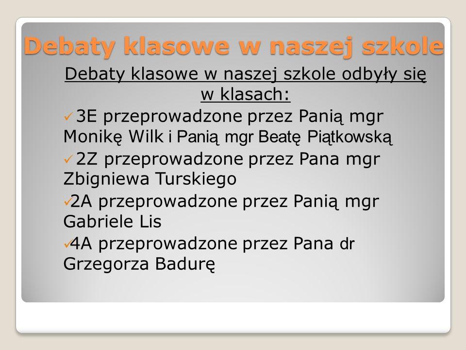 Debaty klasowe w naszej szkole Debaty klasowe w naszej szkole odbyły się w klasach: 3E przeprowadzone przez Pani ą mgr Monik ę Wilk i Panią mgr Beatę
