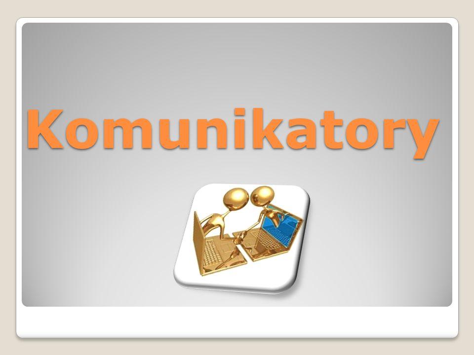 Definicja komunikatorów Komunikator intrnetow y to program komputerowy pozwalający na przesyłanie natychmiastowych komunikatów pomiędzy dwoma lub więcej komputerami, poprzez sieć komputerową, zazwyczaj Internet.