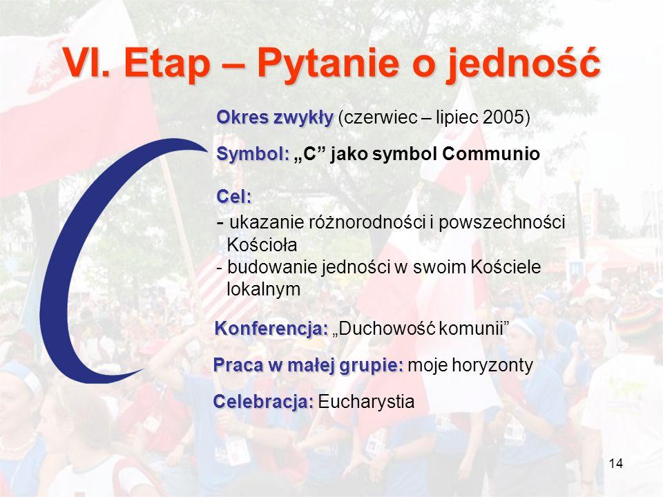 14 VI. Etap – Pytanie o jedność Okres zwykły Okres zwykły (czerwiec – lipiec 2005) Symbol: Symbol: C jako symbol Communio Cel: - ukazanie różnorodnośc